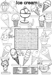 English Worksheet: Wordsearch ICE CREAM FLAVORS