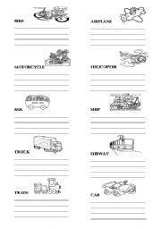 means of transportation exercises pdf