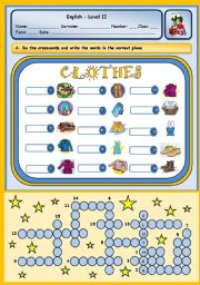 English Worksheet: CLOTHES PUZZLE