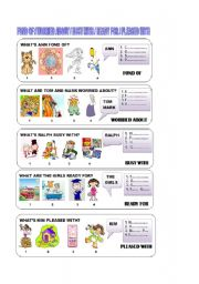 English Worksheet: FOND OF/ WORRIED ABOUT/ BUSY WITH/READY FOR/PLEASES WITH