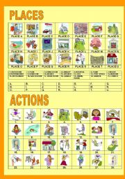 English Worksheets: PLACES AND ACTIONS