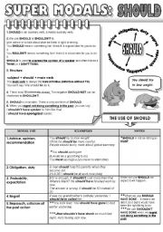 English Worksheet: SUPER MODALS! PART 5 - SHOULD - 1 PAGE GRAMMAR-GUIDE
