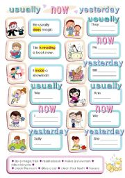 English Worksheets: USUALLY NOW YESTERDAY