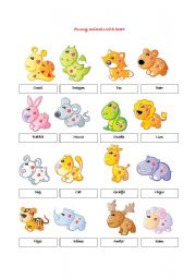English Worksheets: funny animals with heart  flashcards