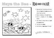 English Worksheet: MAYA THE BEE- read and colour