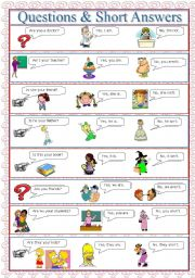 English Worksheet: Questions & Short Answers (to be)
