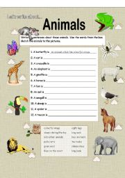 English Worksheets: Let�s Write about Animals