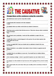 English Worksheet: The causative - rewrite the active sentences using the causative