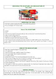Writing - Advantages and disadvantages of fast food - ESL worksheet