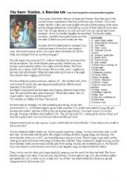 English Worksheets: The Snow Maiden