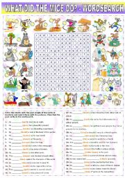 English worksheet: WHAT DID THE MICE DO? -PAST SIMPLE REGULAR AND IRREGULAR VERBS + WORDSEARCH