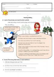 English Worksheet: Little Red Riding Hood - written test