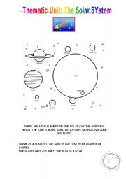 English Worksheet: THEMATIC UNIT: THE SOLAR SYSTEM 1/4