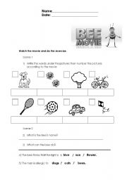 English Worksheets: BEE MOVIE