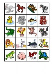 English Worksheets: (ANIMALS) GAME OF THE MEMORY