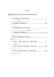 English Worksheet: describing typical food from your country