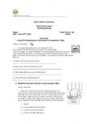 English worksheet: reading writing exam