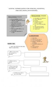 English Worksheets: MAKING INVITATIONS, ACCEPTING AND DECLINING