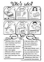 English Worksheets: Who�s Who? (school vocab)