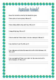 English Worksheets: Australian Animals- Who Am I?