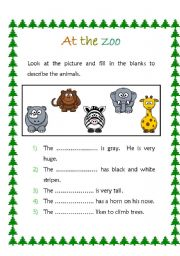 English worksheet: At the zoo