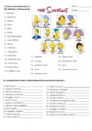 English Worksheet: The simpsons family