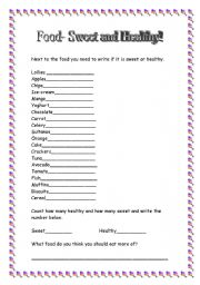 English worksheet: Food. Sweet and Healthy.