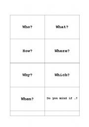 English Worksheets: Question Word Cards