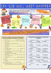 English Worksheet: COLLOCATION 24 - CRY, SOB, WAIL, WEEP, WHIMPER