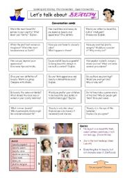 English Worksheet: Let�s talk about BEAUTY
