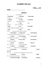 English Worksheet: PLACEMENT TEST FOR ADULTS