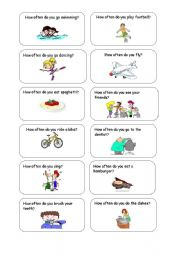 English Worksheet: Conversation cards: How often.......?