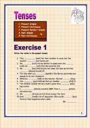 English Worksheet: 7 pages Present Simple/Present  Continuous/Past Simple, Past continuous, Present Perfect simple