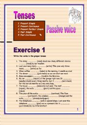 English Worksheet: 4 pages of Passive voice. (Present simple or continuous, past simple or continuous, present perfect simple)