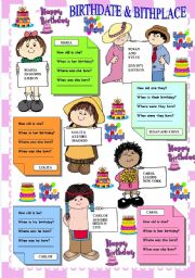English Worksheets: BIRTHDATE AND BIRTHPLACE