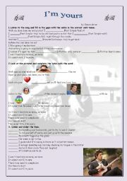 English Worksheet: I´m yours- Jason Mraz