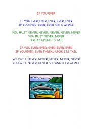 English Worksheet: If you ever see a whale