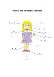 English Worksheets: Write the missing letters