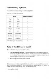 English Worksheet: syllables and word stress