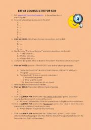 English Worksheet: TREASURE HUNT about the site which the British Council has for kids