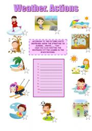 English Worksheets: WEATHER AND ACTIONS