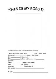 English worksheet: This is my robot