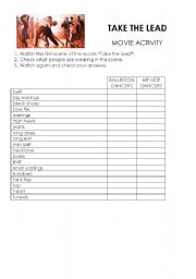 English Worksheets: Movie Activity Take the lead