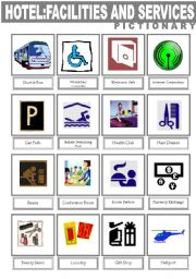 Hotel Facilities And Services Pictionary Esl Worksheet By Lolelozano