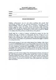 English Worksheets: Busking