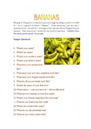 English Worksheets: Always Bananas with Questions