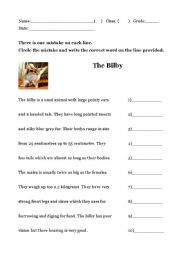 English Worksheet: Proofreading (The Bilby)