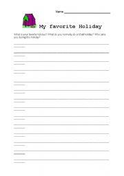 English Worksheets: My favorit Holiday
