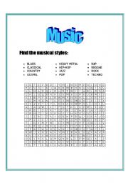 English Worksheet: Musical styles - wordsearch