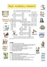 English Worksheet: music vocabulary crossword